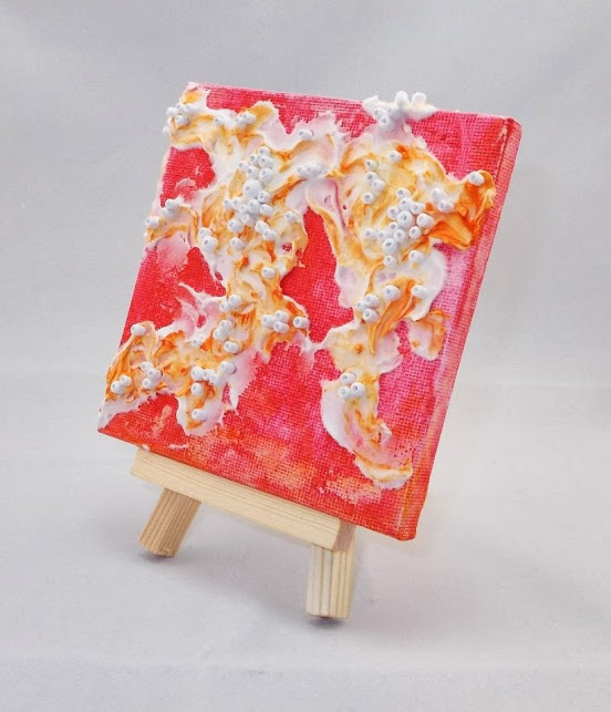 abstract mini canvases with texture paste