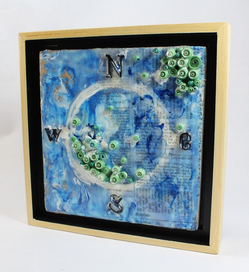 nautical encaustic collage art