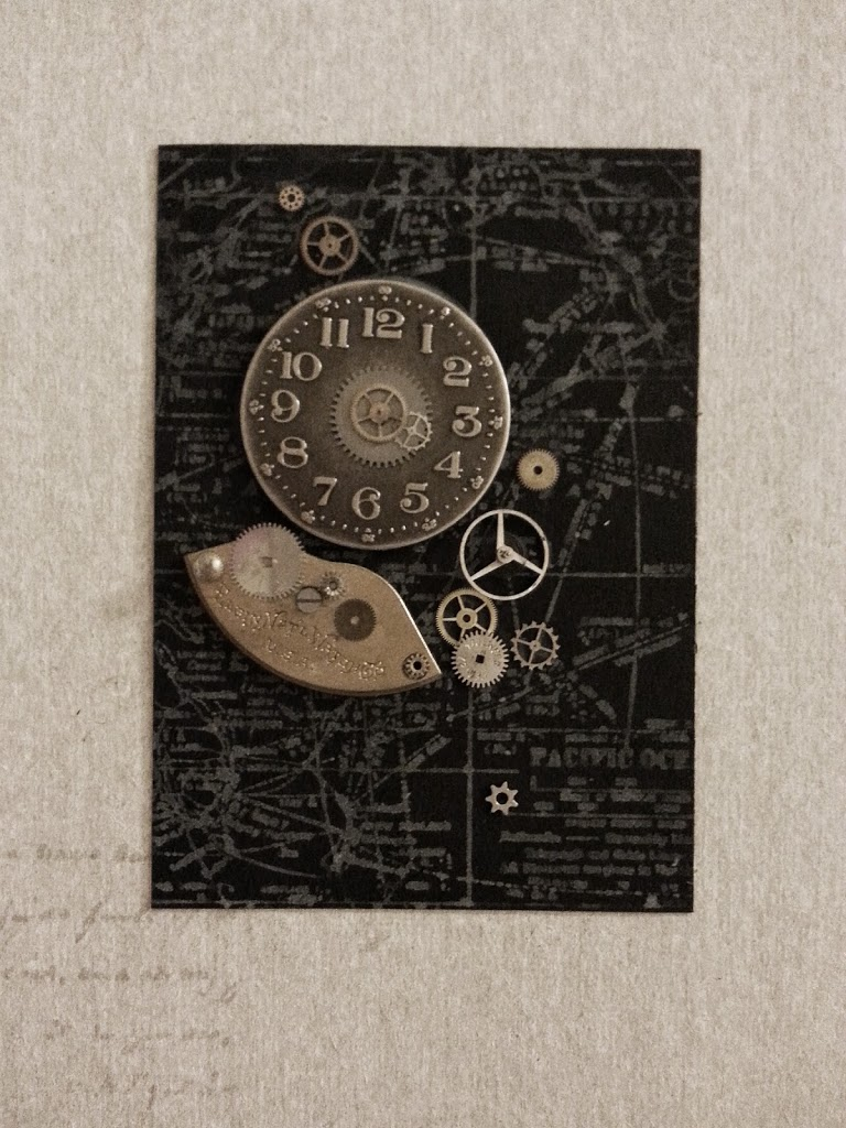 black and white steampunk atc's