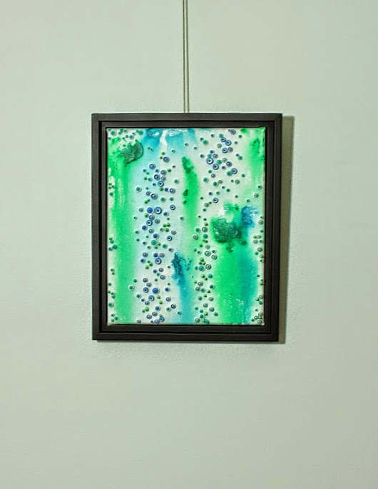 mixed media abstract canvas art with quilled paper pieces and acrylic paint