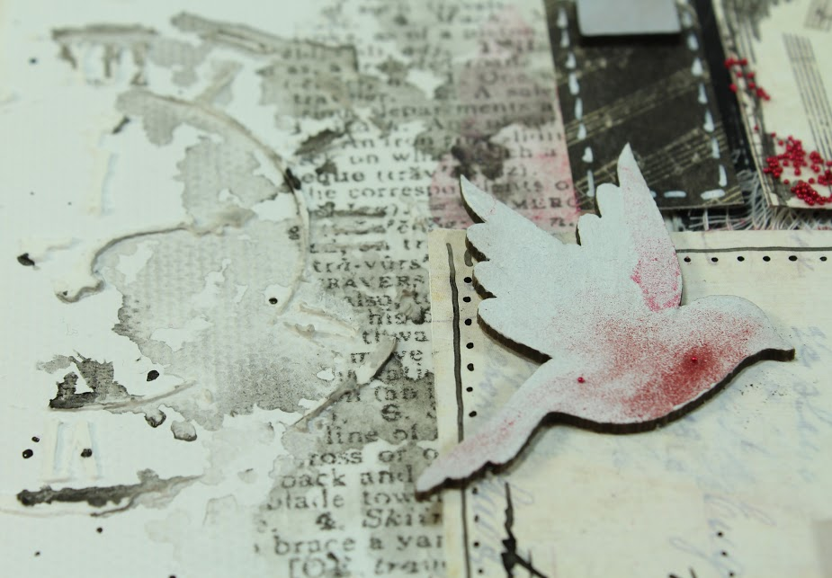 mixed media collage canvas text splashes