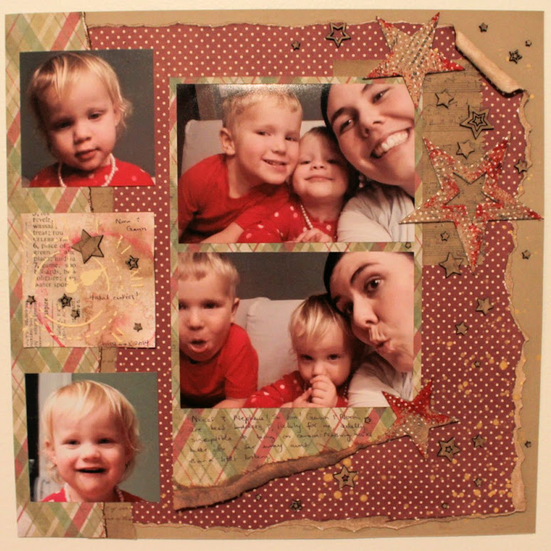 scrapbook layout with chipboard elements