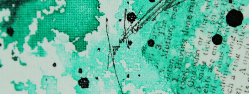 ink painting with modeling paste and calligraphy