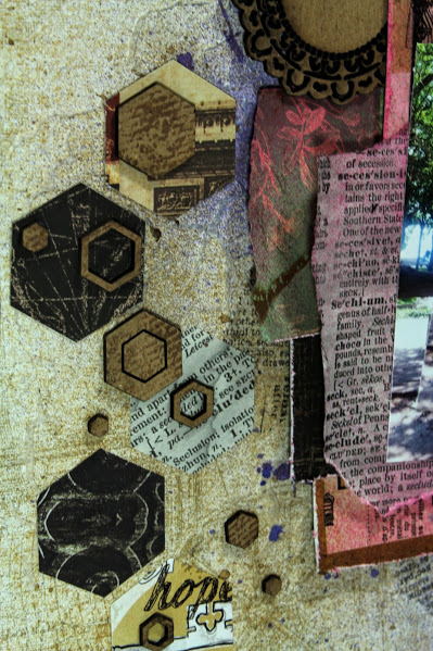 let's scrap sketches layout close up hexagon chipboard