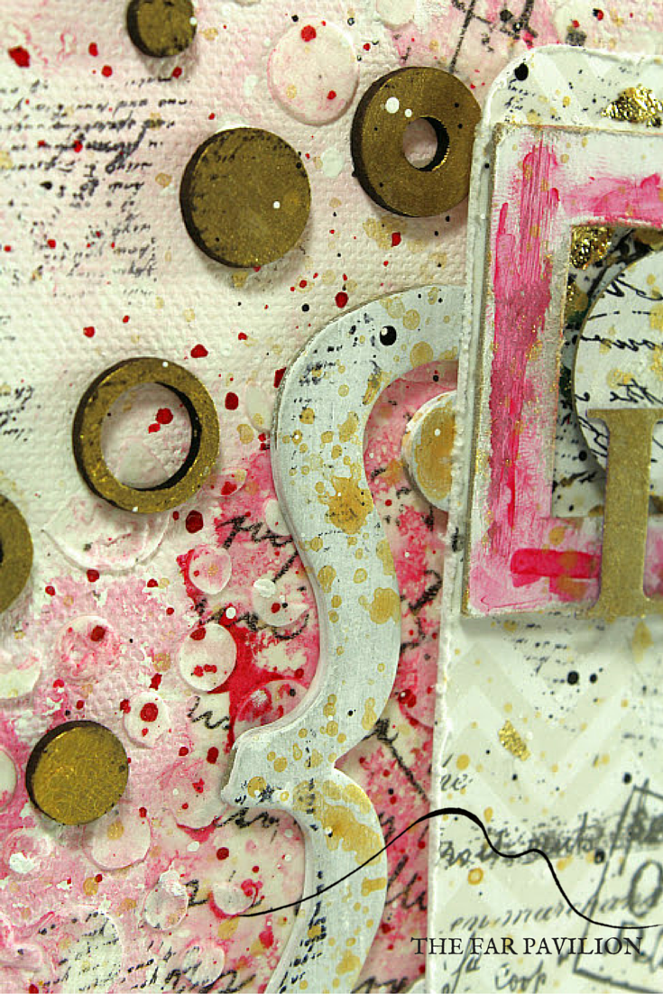 Inspire, mixed media canvas art with chipboard elements- overcome your mistakes