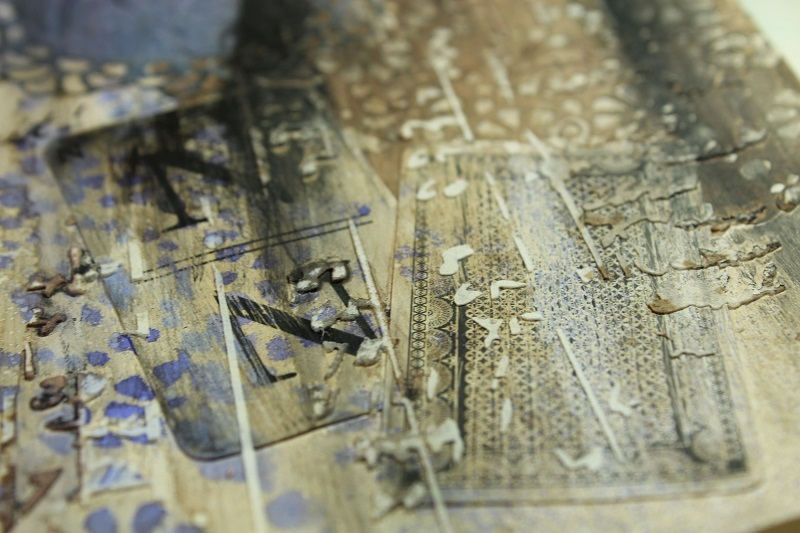 using stencils and texture paste on art journal pages