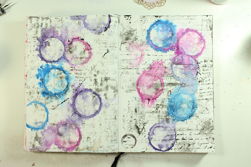 using stencils on art journal pages