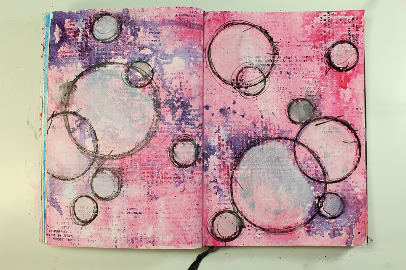 india ink journal pages using a single stamp