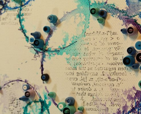 speech bubbles mixed media art