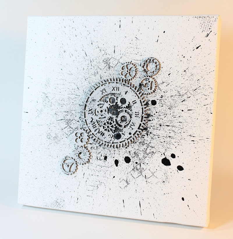 splatter collage with chipboard