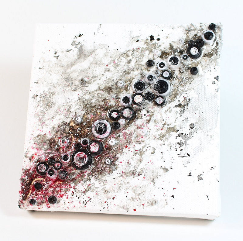 messy mixed media canvas with quilling and texture paste