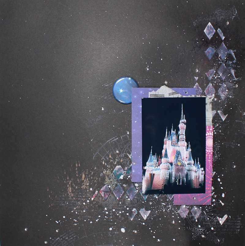 Disney layout with stamping, texture paste and india ink