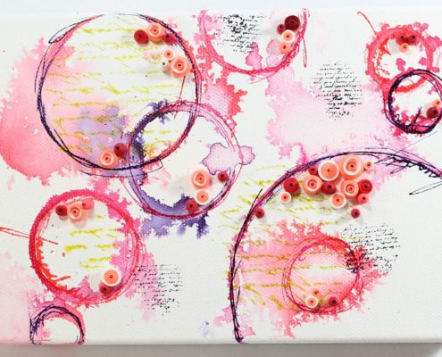 Circles of fire set of 2 abstract art