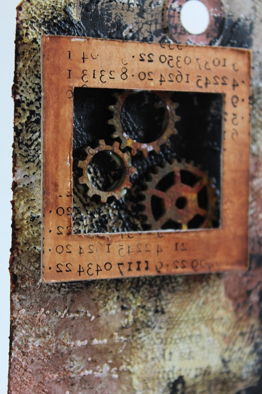 steampunk tag with chipboard frame