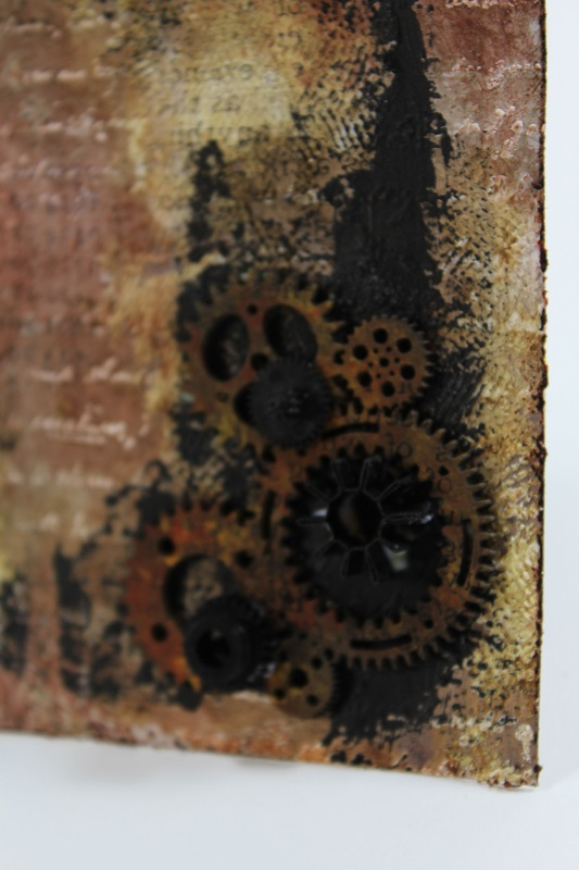 steampunk tag with chipboard gears