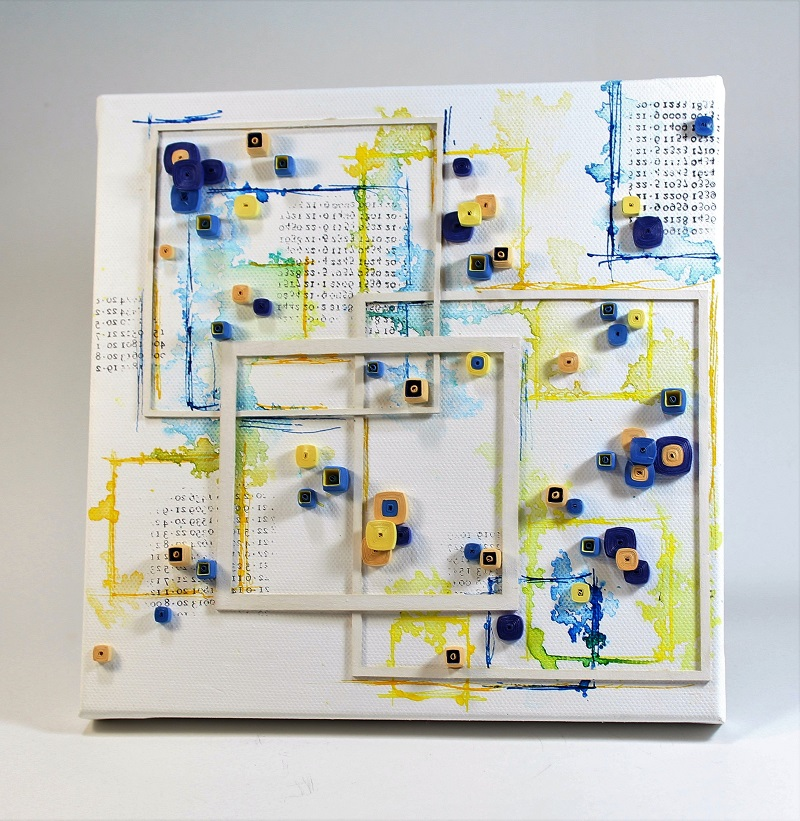square quilling mixed media art
