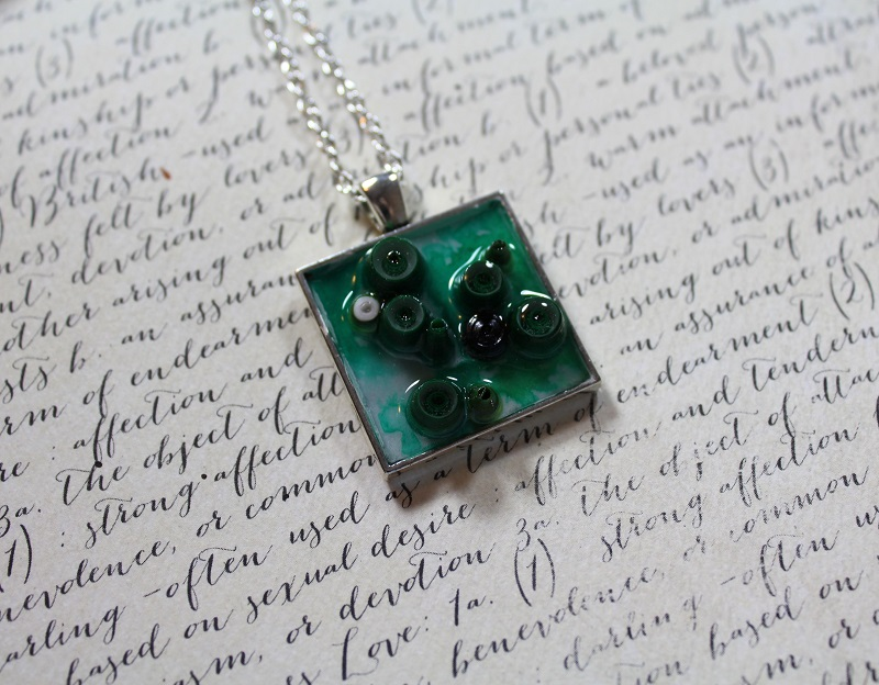 Mixed Media Jewelry- Emerald Green Quilling Pendant