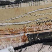 mixed media book with stitching